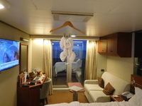 The standard towel hanging monkey - a stable on HAL cruises.
