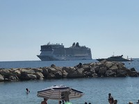 Norwegian Epic anchored at Cannes, France.