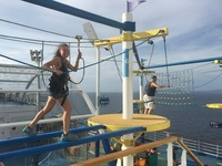 Ropes course on ship.