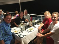 First night on cruise. During dinner.
