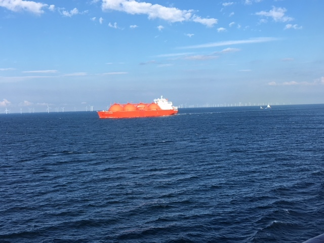 Sailing back to Copenhagen.  Wind farm and container ship along side us.