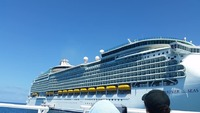Took a picture of the ship as we were being tendered to cococay.