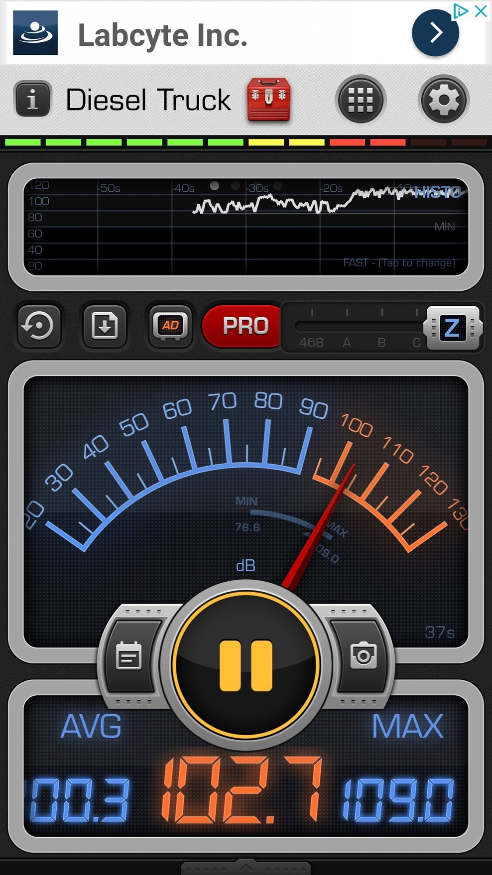 Band Decibels in ship corridor near band.
