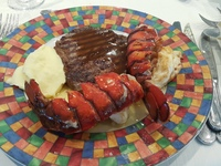 Lobster Tail and Rib Eye Steak at Buffet dinner .