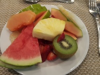 Variety of fruits for breakfast in the buffet dinning room.