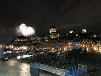 Fireworks for the inauguration voyage to Québec