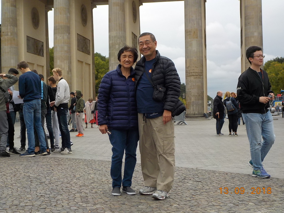 In front of Brandenburg Gate, Berlin.