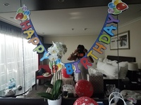 Our cabin bedecked with birthday wishes by our attentive staff