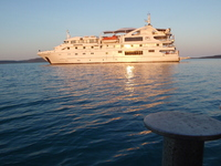 Early morning leaving the Coral Discoverer for an excursion ashore.
