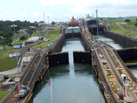 Going thru the locks in the Panama Canal