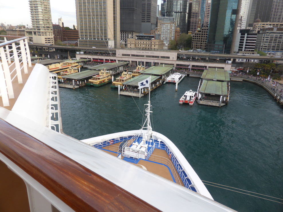 View from the balcony of Stateroom M105, looking over the Ship's bow.