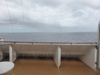 Forward looking view from Stateroom M105 and its balcony.