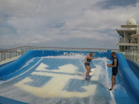 Trying the flowrider...not bad for a first timer!