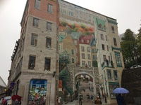 This is a mural in Quebec Cityt