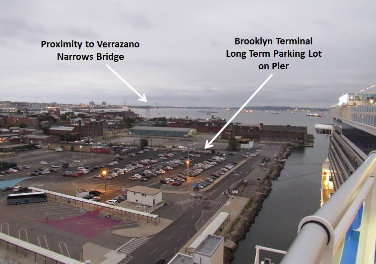 Annotated view of the Brooklyn Cruise Ship Terminal parking lot, as seen fr
