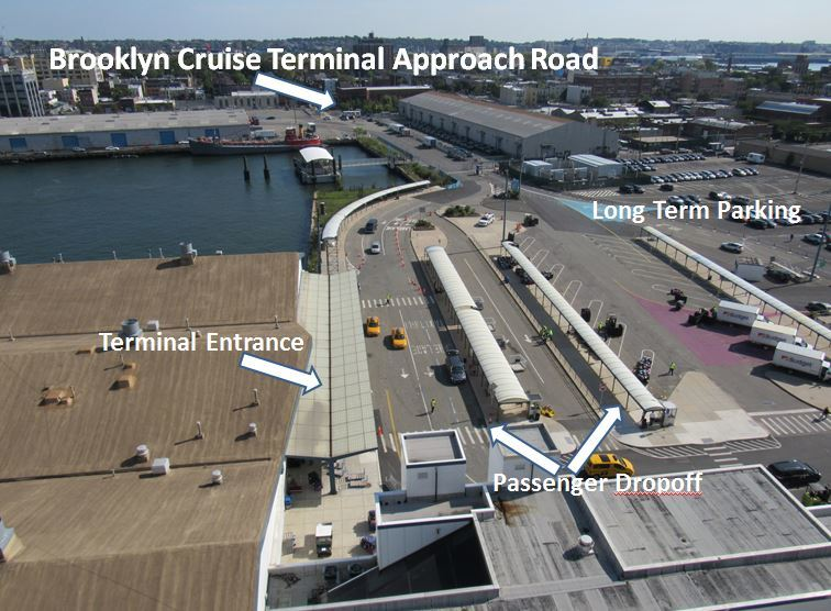 Annotated view of the Brooklyn Cruise Ship Terminal, as seen from aboard th