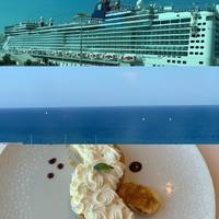 A collage of our first day - ship in port, view from balcony and a deliciou
