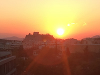 Sunset over the Acropolis, Athens Greece