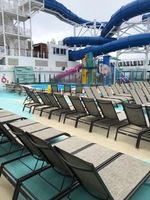 empty pool deck..NO ACTIVITIES..cold weather BOO NCL for San Francisco trip