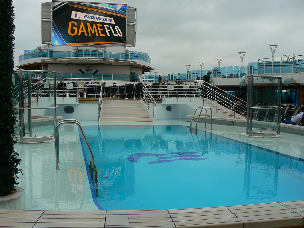 pool and giant screen