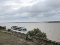 Our cruise ship docked in Blaye