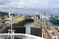 We are about to enter the first set of the Lake Gatun locks at the Panama C