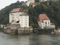 Cruising down the Danube leaving Passau