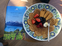 A waffle with the strange brown Norwegian cheese!