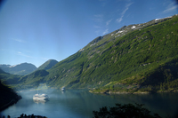 The VIking Star docked in the Geiranger Fjord