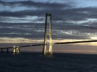 Sailing beneath 'The Bridge,' between Denmark & Sweden.