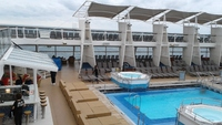 Outdoor swimming and a jacuzzi on board