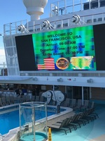 Outdoor screen at pool deck
