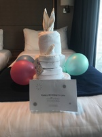 My sister's birthday surprise from our cabin steward, Iketut Bawa.  He wa