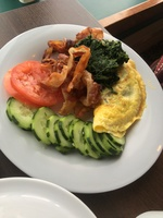 One of 3 breakfasts we had on Spirit they cooked omelet in butter not toxic