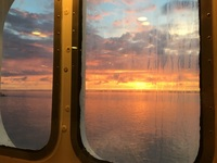 Sunrise through the cabin window