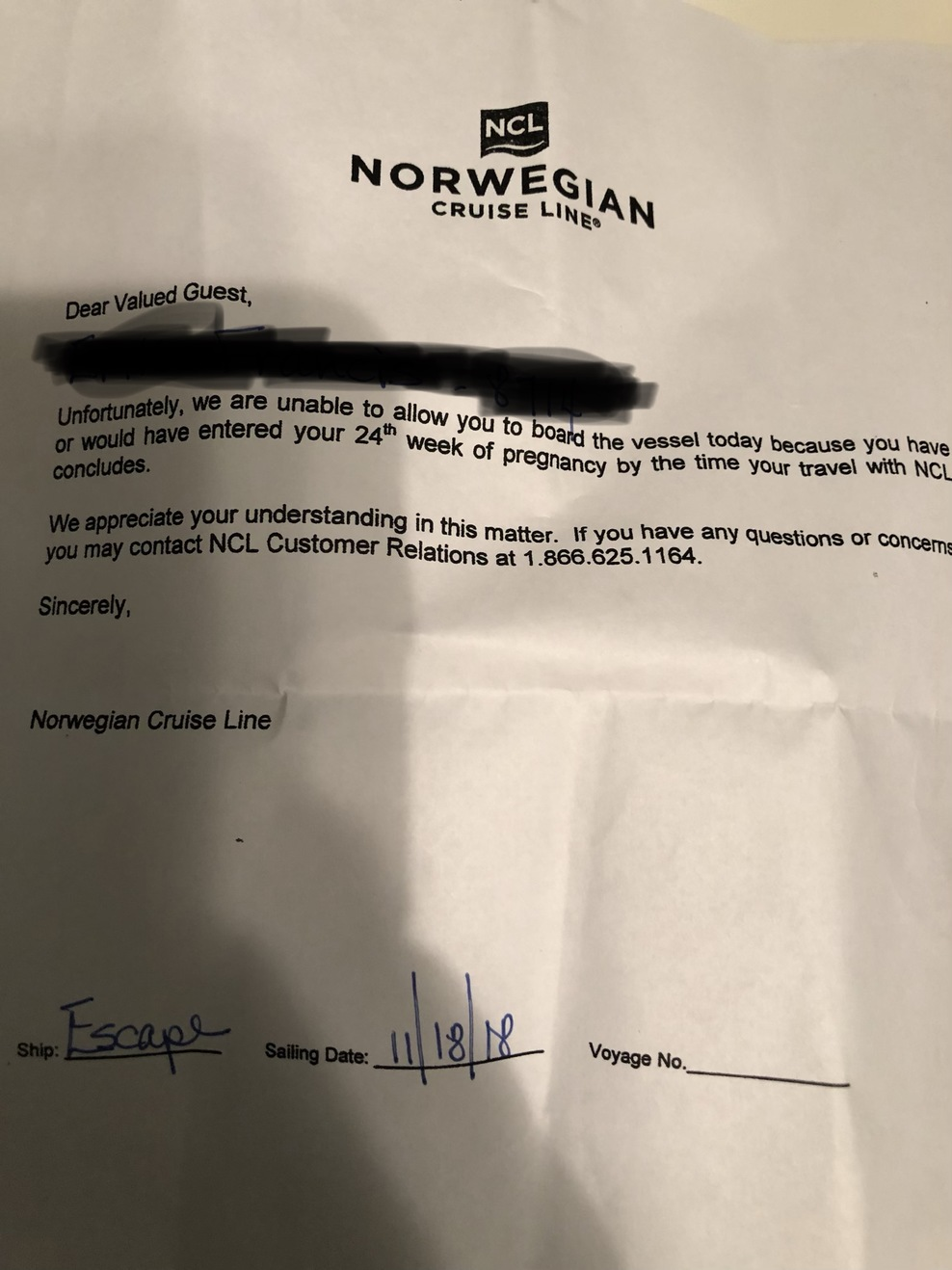 NCL's pre-drafted letter confirming I wasn't granted access to the ship