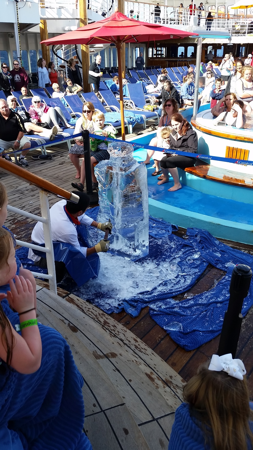 Ice carving at the Lido deck on the Carnival Ecstasy.
