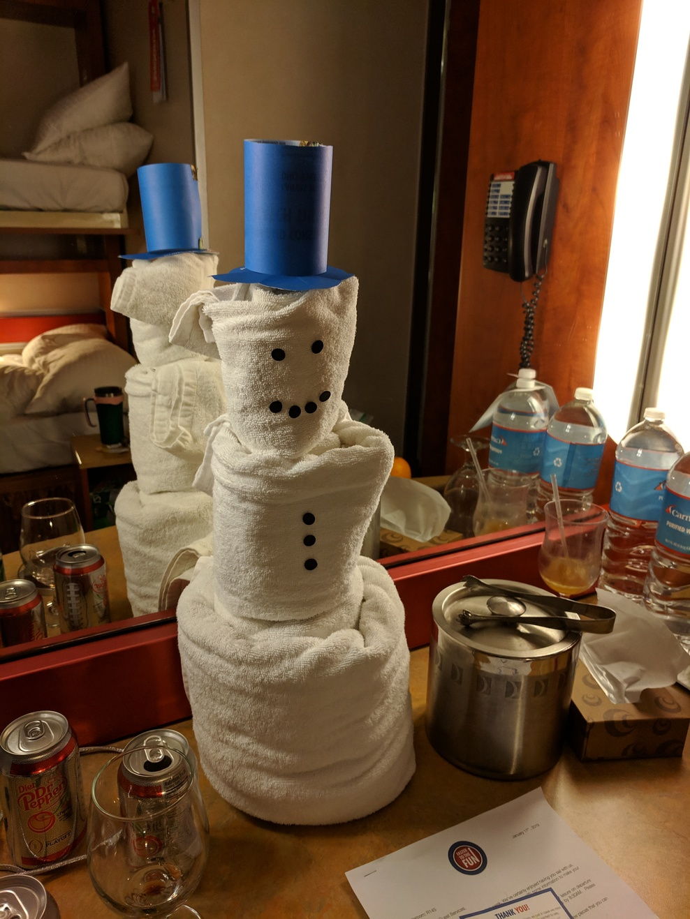 This is the towel SNOWMAN we made for our steward as we came back home to f