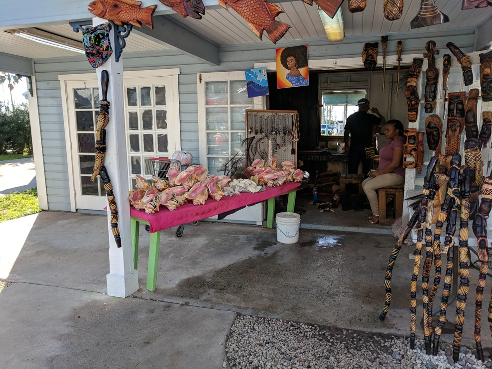 At Freeport, someone was selling drilled conch shells that can be blown to