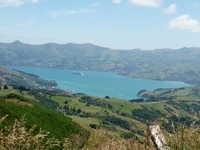 View of Akaroa and ship on Trike Tour.