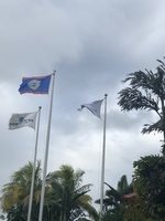 Flags at port in Belize