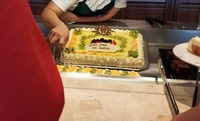 Welcome cake on the buffet for embarkation.