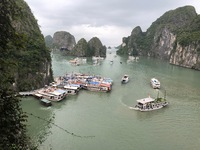 This is a picture of Halong Bay near one of the caves.