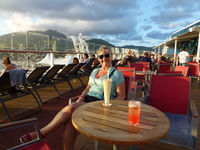 Sail away drinks - leaving St. Kitts.