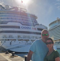 Getting back on the Carnival Horizon after a fun day at St. Maarten.