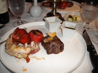 Nick & Nora's Steakhouse. Surf & Turf. Husband's Cowboy steak was b