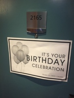 My husband's birthday was celebrated with a door sign and a wonderful cak