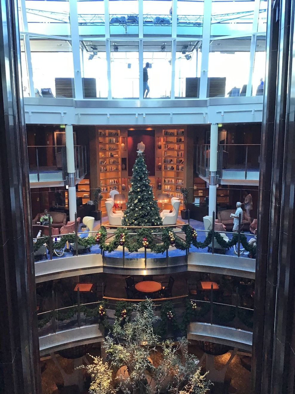 Holiday decorations on the ship.