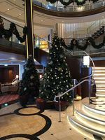 Christmas decorations on the ship.