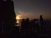 Ha Long Bay sunset on a boat.